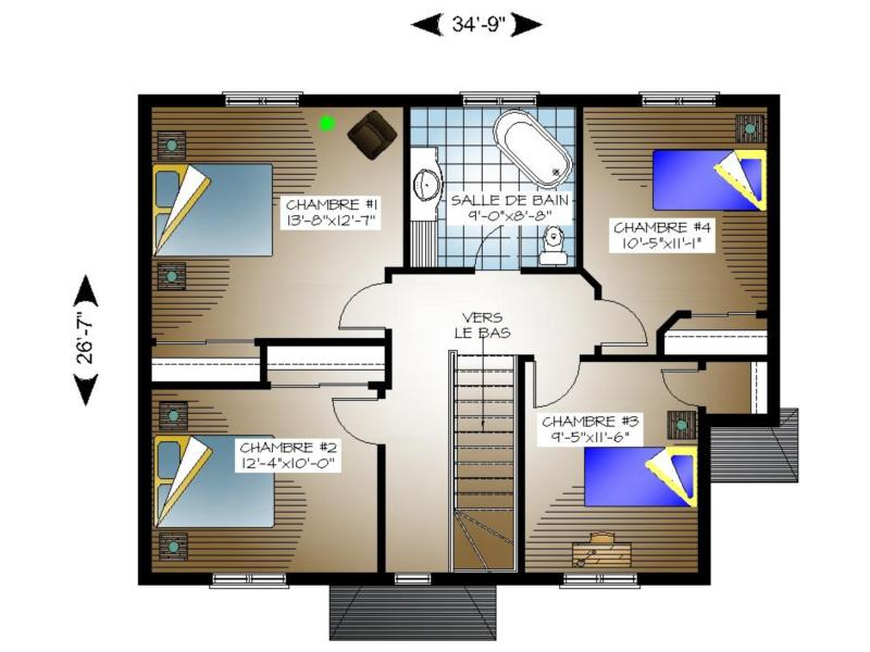 Perfect Cool Plan Maison Tage Chambres Maison Moderne Image Size X Download  Image With Plan Maison Etage Chambres With Plan De Maison Tage 4 Chambres.
